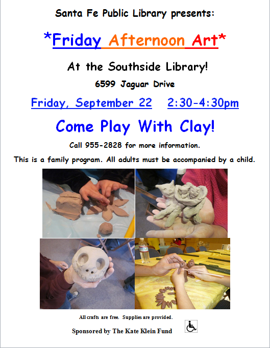 Come Play with Clay: Friday Afternoon Art @ Southside Branch | Santa Fe | New Mexico | United States