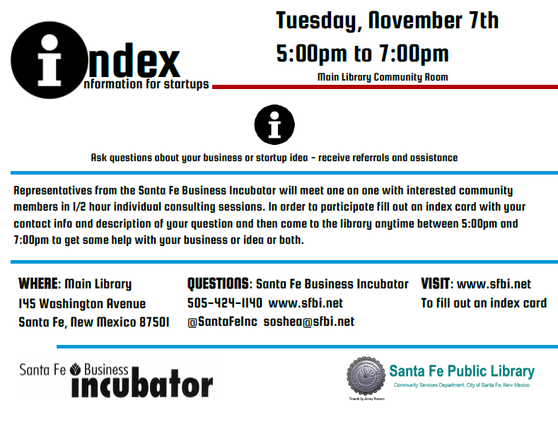 Index Information for Startups @ Main Library | Santa Fe | New Mexico | United States