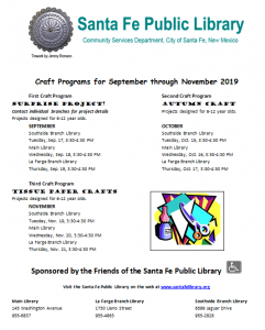 Children's Craft Program @ Southside Branch | Santa Fe | New Mexico | United States