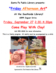 Friday Afternoon Art: Come Play With Clay! @ Southside Branch