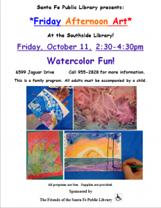 Friday Afternoon Art: Watercolor Fun! @ Southside Branch