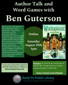 Online Author Talk and Word Games with Ben Guterson and the Santa Fe Public Library
